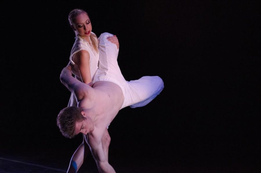 <p>Ryan Galloway and Shannon Kazan perform the piece Minor Bodies on Jan. 16, 2014, for the IU Contemporary Dance Theatre's Winter Dance Concert. The production ran at Ruth N. Halls Theatre.&nbsp;</p>