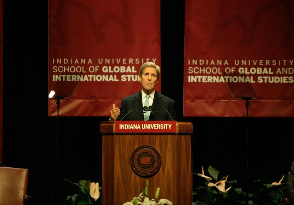 Secretary of State John Kerry speaks about global conflicts and what the Obama administration has done to combat enemies such as ISIS and Iran in the past two years. Kerry went on to talk about climate change and other topics on Thursday at the Indiana University Auditorium.