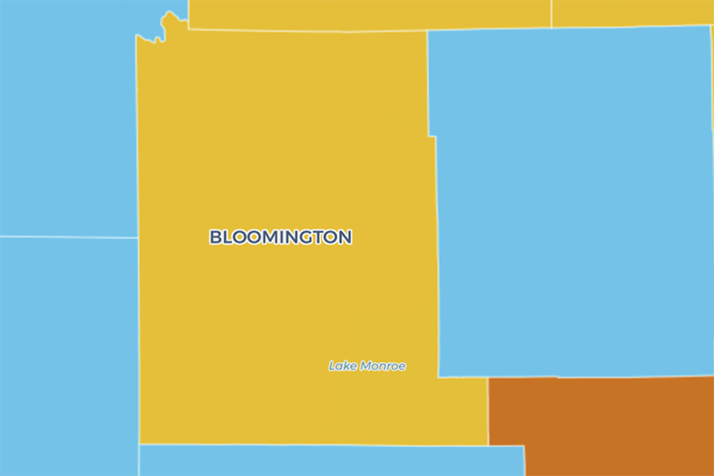 <p>The Indiana Daily Student COVID-19 map shows Bloomington in yellow. Monroe County's COVID-19 Advisory Level changed from blue to yellow last week, indicating increased cases per 100,000 residents and a higher positivity rate. </p>