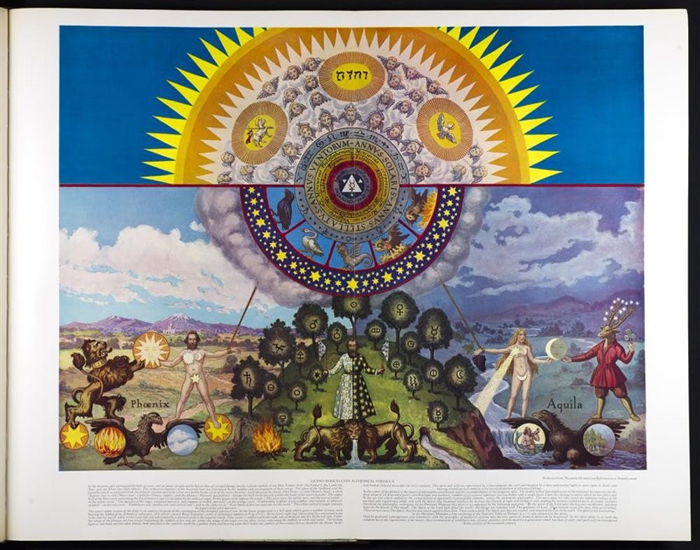 """Manly P. Hall, a charismatic author and mystic who lived most of his life in Los Angeles, California, followed in the tradition of 19th-century occultists like Madame Blavatsky in trying to create a unified work that would unite all religious and mystical traditions.  The plate displayed here is a symbolic depiction of the """"Grand Rosicrucian Alchemical Formula."""""""