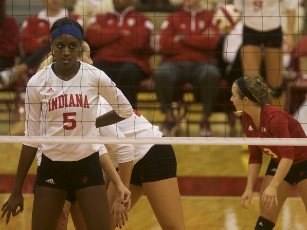 Then-Sophomore Jazzmine McDonald sets up before a play during a game against Rutgers on November 11, 2014 in University Gym.