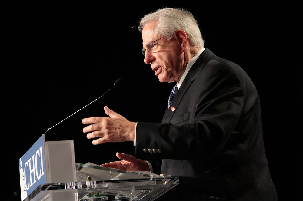 <p>Former Sen. Mike Gravel, D-Alaska, speaks Oct. 3, 2007, during a presidential candidates forum in Washington, D.C.</p>