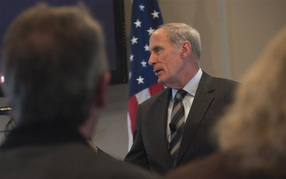 """<p>U.S. Sen. Dan Coats, R-Indiana, speaks to Bloomington business leaders April 3, 2013, at Chapman's Restaurant.&nbsp;<span style=""""background-color: initial;"""">Coats is</span><span style=""""background-color: initial;"""">&nbsp;expected to be nominated for a position in the Donald Trump administration as director of national intelligence, according to major national news outlets.</span></p>"""