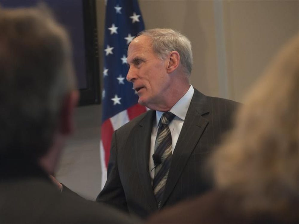 U.S. Sen. Dan Coats, R-Indiana, speaks to Bloomington business leaders April 3, 2013, at Chapman's Restaurant.Coats isexpected to be nominated for a position in the Donald Trump administration as director of national intelligence, according to major national news outlets.