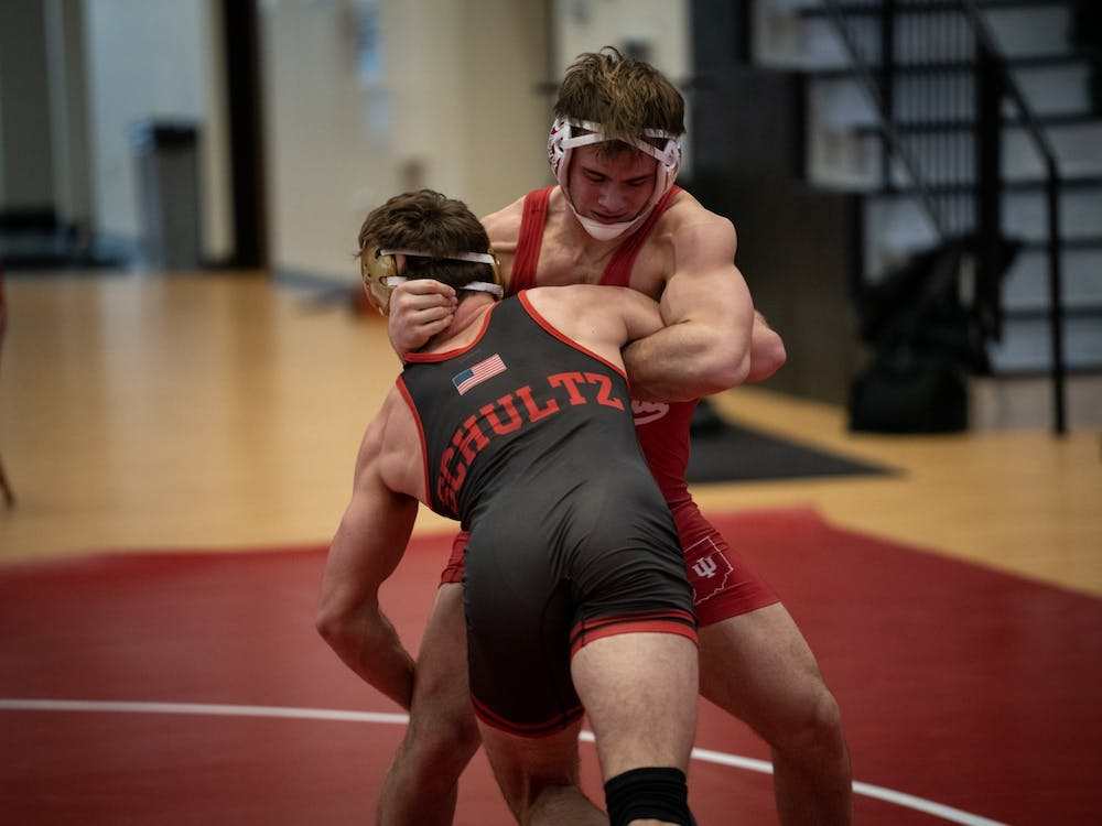 Sophomore Nick Willham defends a takedown attempt from Nebraska's Eric Schultz at Wilkinson Hall on Feb. 6, 2021. Willham lost 4-2 to Purdue's Thomas Penola on Monday in the Hoosiers' 38-3 loss to the Boilermakers.