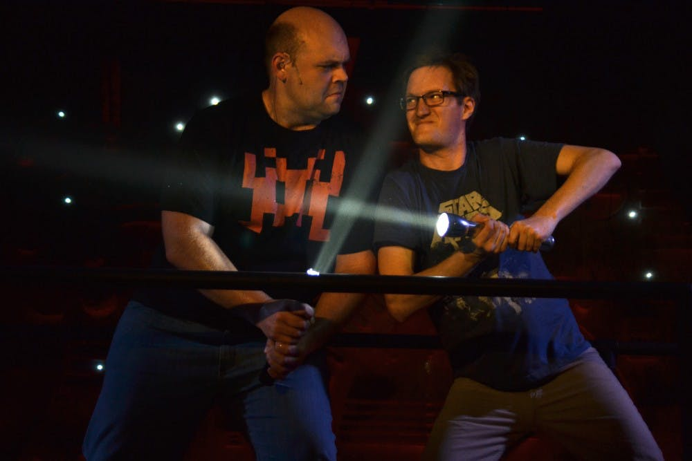 """<p>Josh Carroll and David Sheehan rehearse March 25 at the Bloomington Playwrights Project. """"The Jedi Handbook"""" will premiere at 7:30 p.m. March 29.</p>"""
