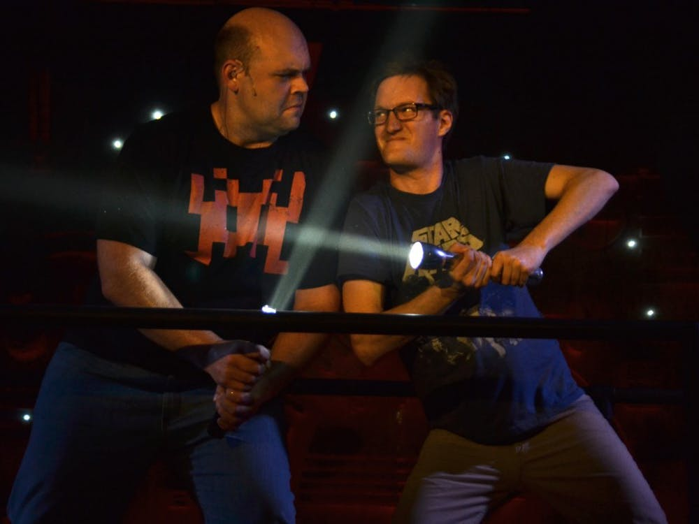 """Josh Carroll and David Sheehan rehearse March 25 at the Bloomington Playwrights Project. """"The Jedi Handbook"""" will premiere at 7:30 p.m. March 29."""