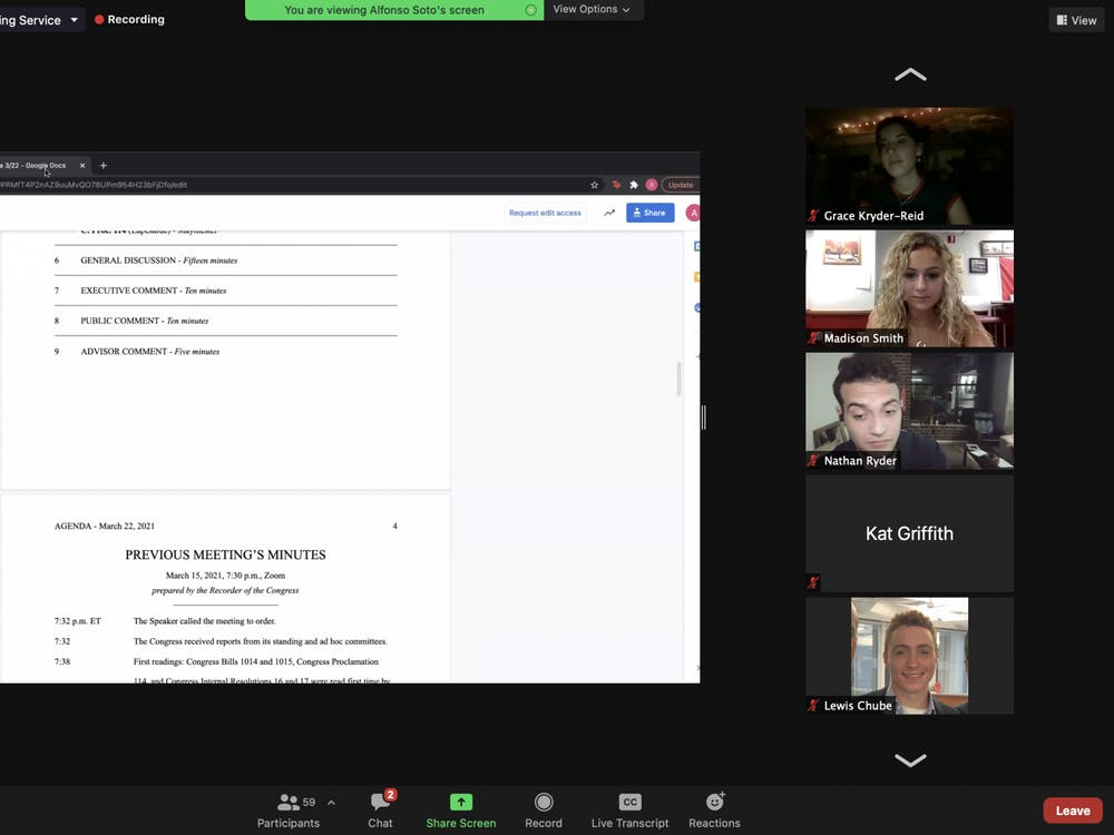 A screenshot shows IU Student Government Congress meeting Monday to discuss a new proclamation over Zoom. Proclamation 112 encourages greek life councils to increase their sexual assault education.