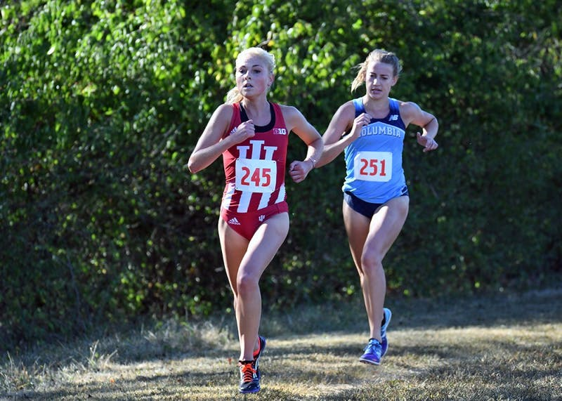 Then-junior, now senior, Maggie Allen runs in the Sam Bell Invitational on Sept. 30, 2017, at the IU Championship Cross-Country Course. Allen and the Hoosiers qualified for the NCAA Championships.