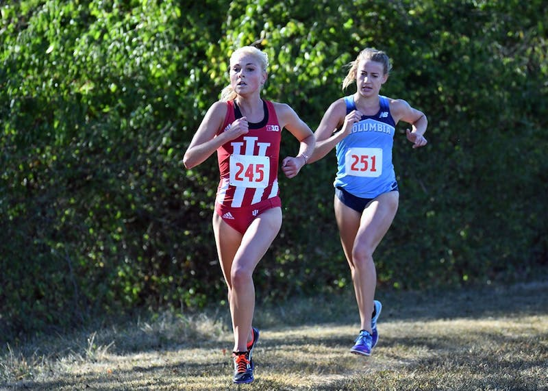 Junior Maggie Allen runs in the Sam Bell Invitational on Sept. 30 at the IU Championship Cross-Country Course. Allen and the Hoosiers will run in the Big Ten Conference Championships this Sunday in Bloomington.