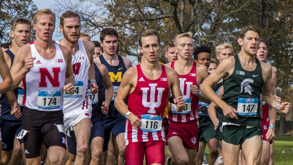 IU senior Kyle Mau runs near the front of the pack Nov. 3, 2019, at the Big Ten Championships at Ohio State University Golf Club in Columbus, Ohio. The team — which competes year-round — had both spring and fall NCAA Championships canceled due to the coronavirus pandemic.