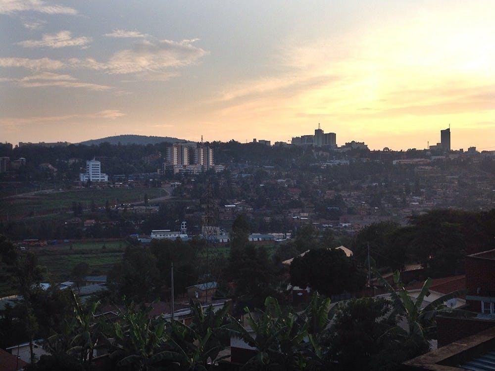 The sun sets over Kigali, Rwanda.