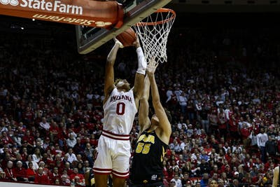Freshman guard Romeo Langford dunks the ball against Iowa on Feb. 7 at Simon Skjodt Assembly Hall. IU lost to Iowa, 77-72.