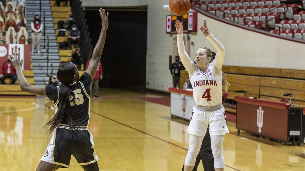 Senior guard Nicole Cardaño-Hillary takes a shot Saturday at Simon Skjodt Assembly Hall. No. 9 Indiana will play in the Big Ten Tournament quarterfinals Thursday at Bankers Life Fieldhouse in Indianapolis.