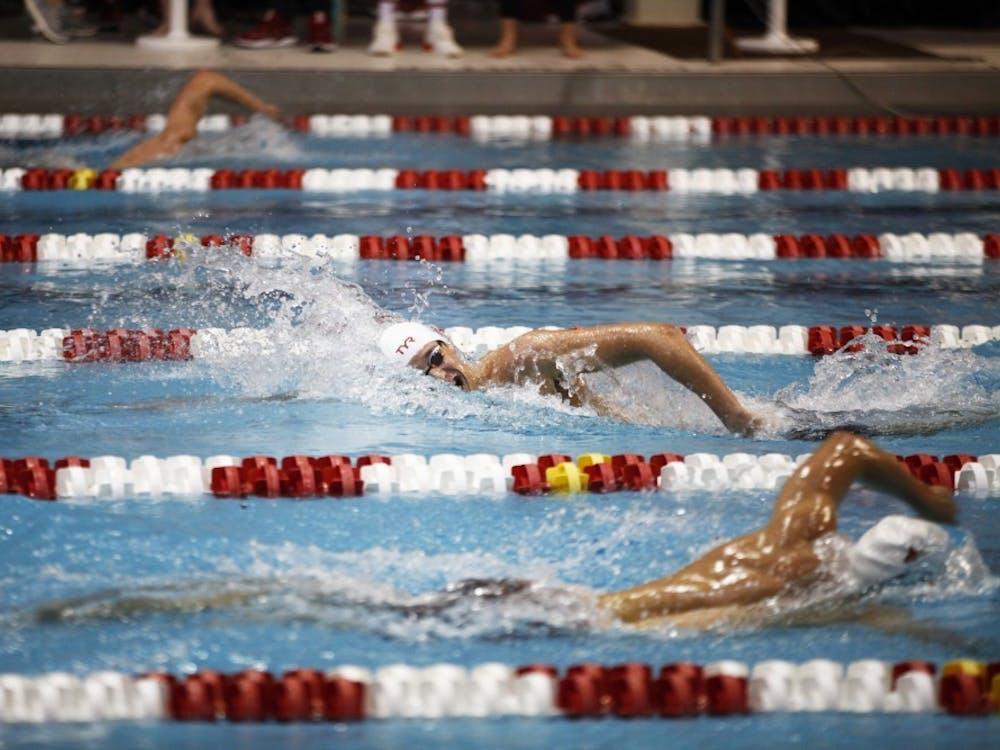 Then-freshman Michael Brinegar swims the 1650-yard freestyle Nov. 17, 2018, at Counsilman-Billingsley Aquatic Center. Indiana men's swim and dive will face Northwestern at 11 a.m. Saturday at the Norris Aquatics Center in Evanston, Illinois.