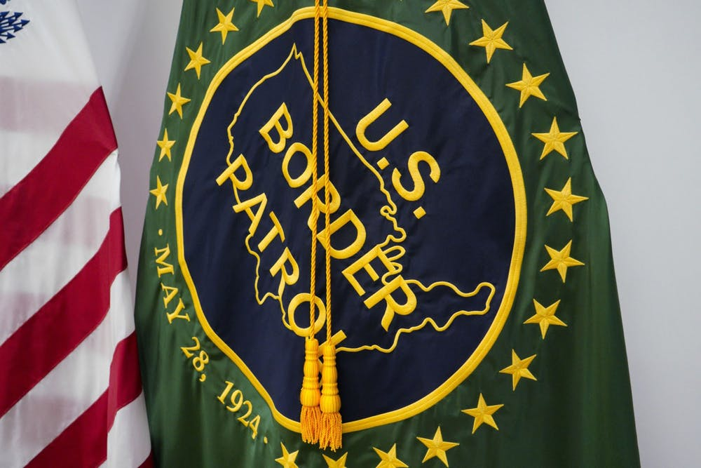 <p>A U.S. Border Patrol flag on is seen on display at the USBP El Centro Station in San Diego at the U.S. border with Mexico.</p>