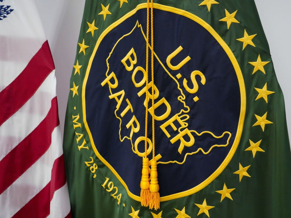 A U.S. Border Patrol flag on is seen on display at the USBP El Centro Station in San Diego at the U.S. border with Mexico.