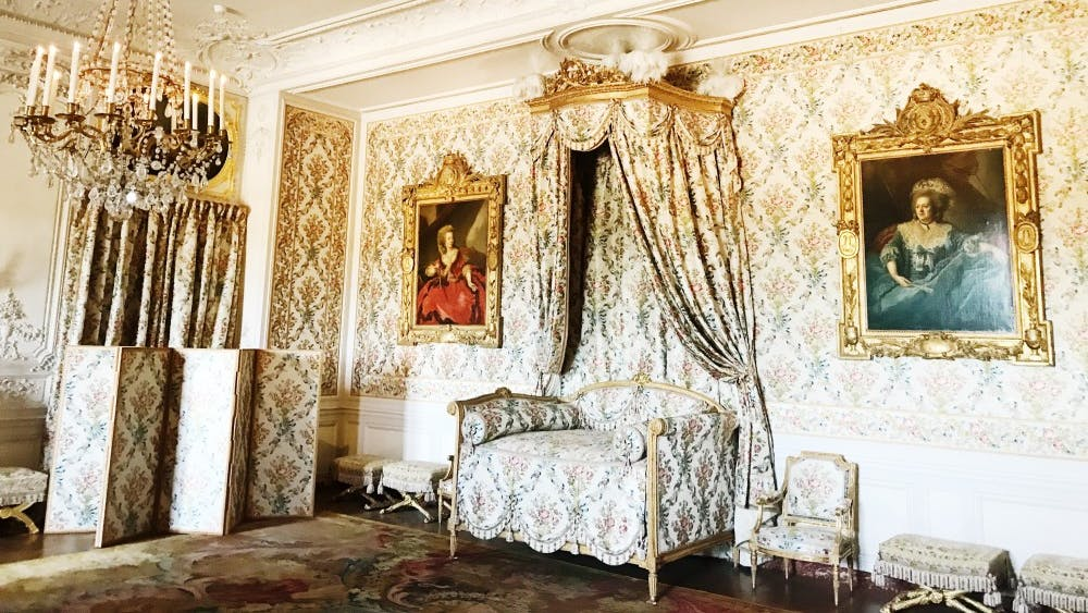 "The Queen's Apartment in Versailles was designed for Louis XIV's Queen Marie Thérèse of Austria. The main room is called ""The Queen's Bedchamber."""