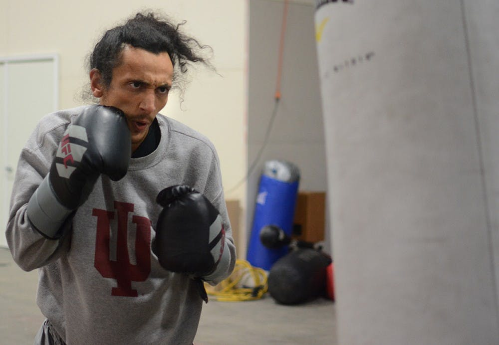 Skyler Ortiz, 28, trains on Thursday evening to be prepared for the coming Golden Gloves match at B-Town Boxing Club. Ortiz has been boxing for seven months. Ortiz said he trains around 30 hours every week and he is confident for wining this match.