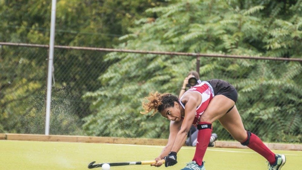 Senior Andi Jackson passes the ball during IU's win over Ball State University on Sept. 8 at the IU Field Hockey Complex. The IU field hockey team lost to No. 6 Iowa on Friday night.