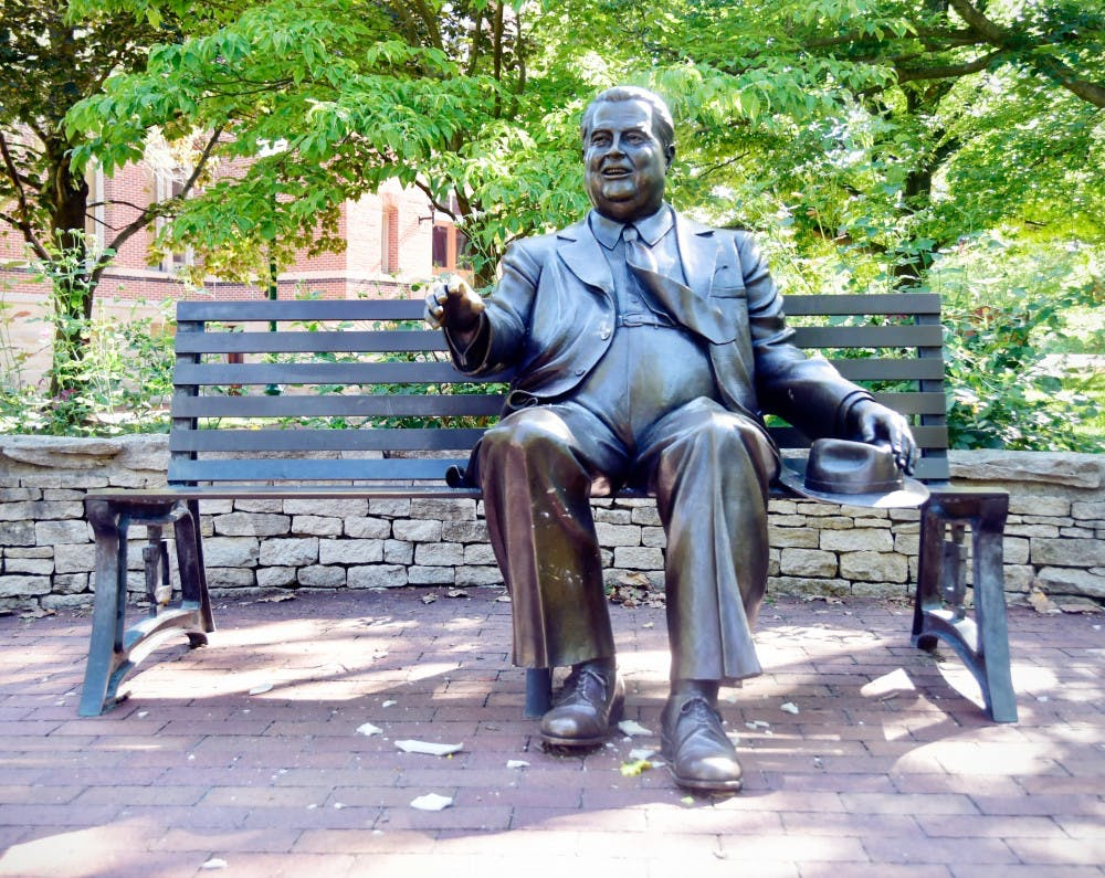<p>On Oct. 21, 2009, a sculpture of Herman B Wells was installed in the Old Crescent area of campus. It was crafted by artist Tuck Langland.</p>