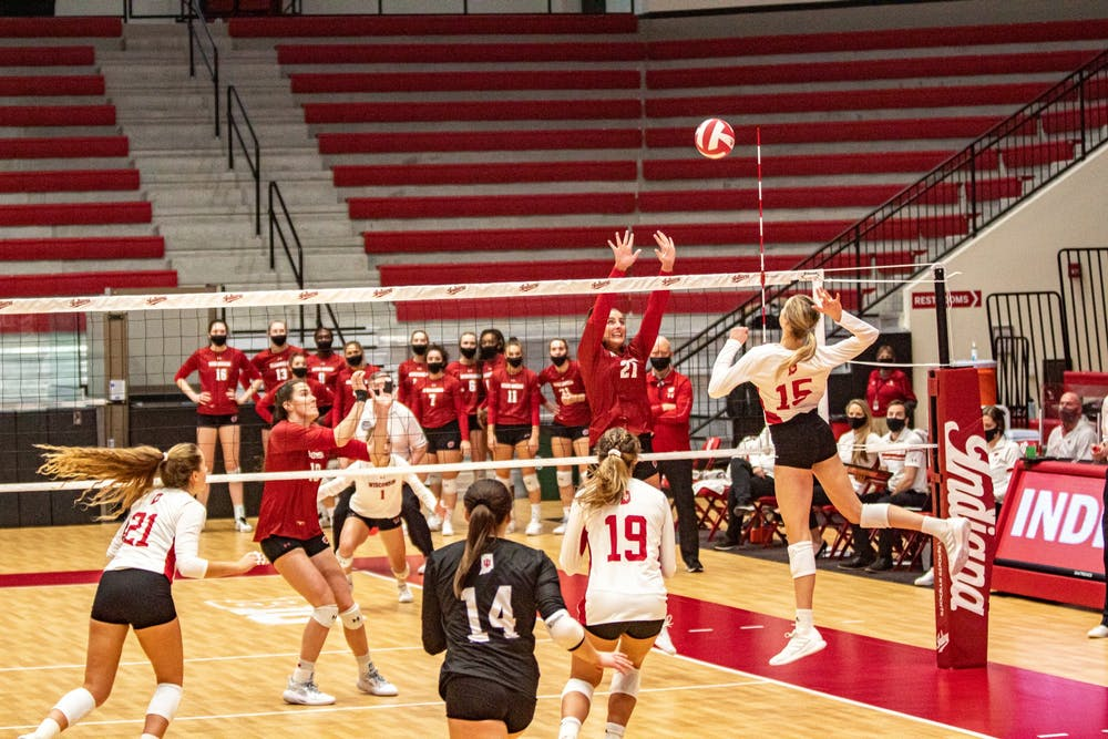 <p>Freshman middle blocker Savannah Kjolhede spikes the ball Friday in Wilkinson Hall. IU lost to No. 1 Wisconsin 0-3. </p>