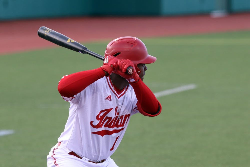 <p>Senior Jeremy Houston prepares to bat March 4 at Bart Kaufman field. IU defeated the University of Cincinnati  on March 11, 6-2. </p>
