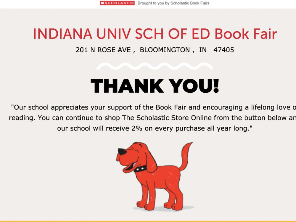 A screen grab from the IU School of Education Book Fair site.