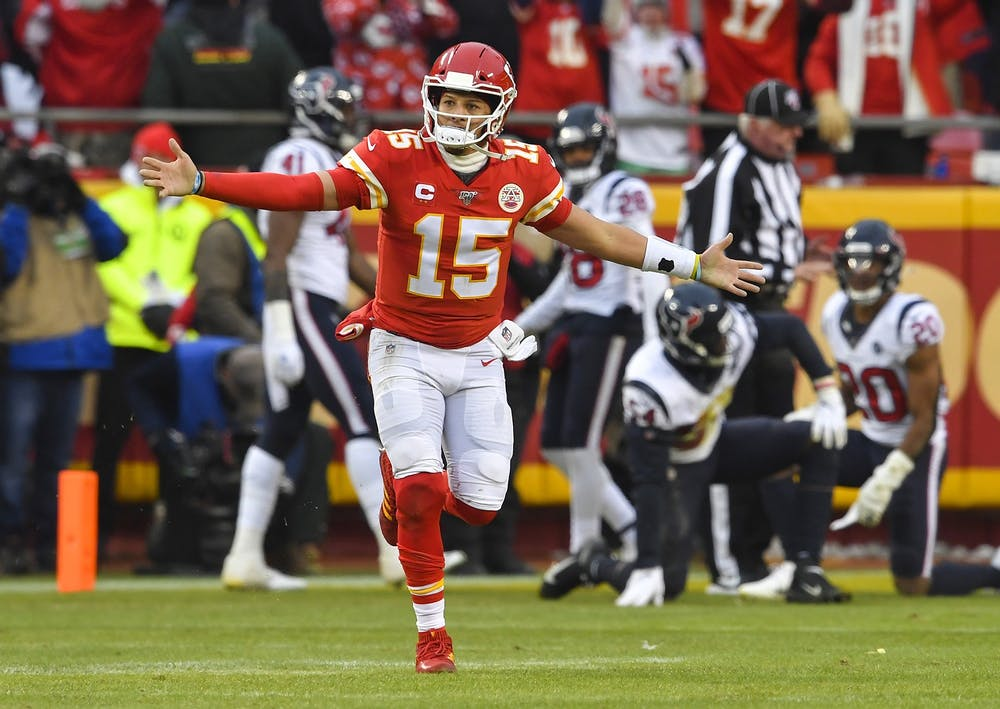 <p>Kansas City Chiefs quarterback Patrick Mahomes celebrates after throwing a touchdown pass Jan. 12 at Arrowhead Stadium in Kansas City, Missouri. The Chiefs will play the Tennessee Titans Jan. 19 for the AFC championship game.</p>