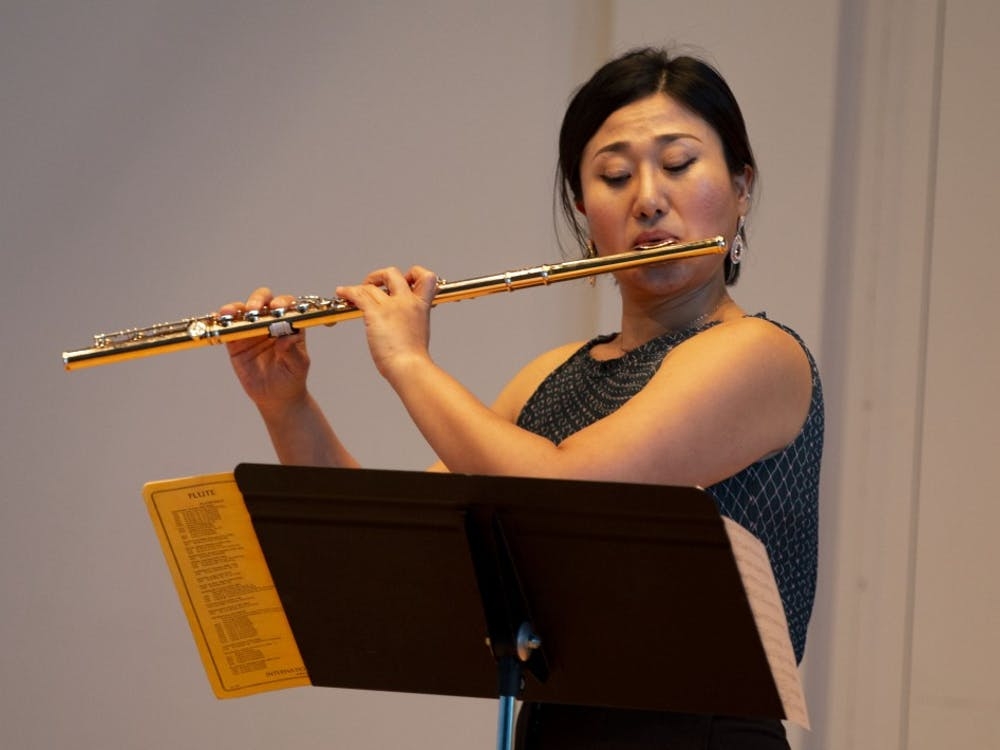 Flutist Suyeon Ko performs a piece by Sigfrid Karg-Elert on Sept. 3 at Ford-Crawford Hall. Ko has won prizes in competitions, including the American Protégé International Competition and the Myrna Brown Young Artist Competition.