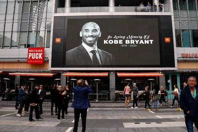 A screen shows a memorial for Kobe Bryant Jan. 26 at Staples Center in Los Angeles, California. Bryant died in a helicopter crash Jan. 26.