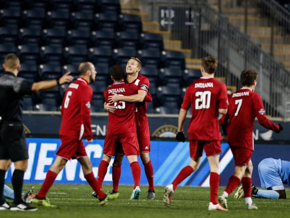 The Hoosiers celebrate after beating UNC, 1-0, during the NCAA semifinal game at Talen Energy Stadium in Philadelphia on Dec. 8. The Hoosiers will play Stanford on Sunday for the NCAA title.