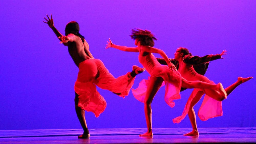 Dancers in the African American Dance Company perform group dances and contortions during a technical rehearsal April 5, 2018. The group will present its 45th annual spring concert at 7:30 p.m. April 6 at the Buskirk-Chumley Theater.