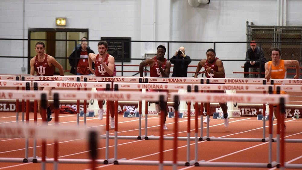 The Men's 60m Hurdles in IU's dual meet vs. Tennessee Saturday afternoon at Harry Gladstein Fieldhouse. Senior Adrian Mable (second from right) and Freshman William Sessions (third from right) finished first and second in the event.