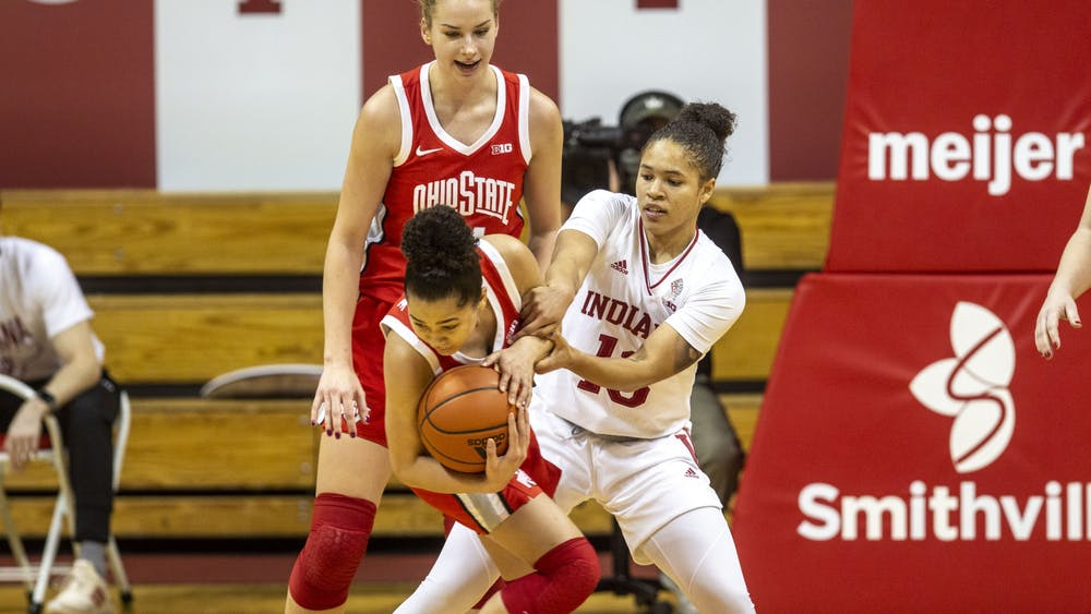 Senior guard Jaelynn Penn loses the ball to an Ohio State player Jan. 28 in Simon Skjodt Assembly Hall. No. 16 IU lost to No. 14 Ohio State 78-70.