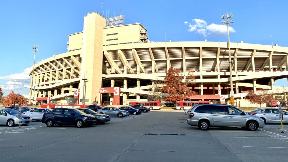 The Memorial Stadium parking lot is pictured Oct. 22. IU Transportation tweeted Tuesday morning that all vehicles in Memorial Stadium lots must be moved by 6 p.m.  Friday.