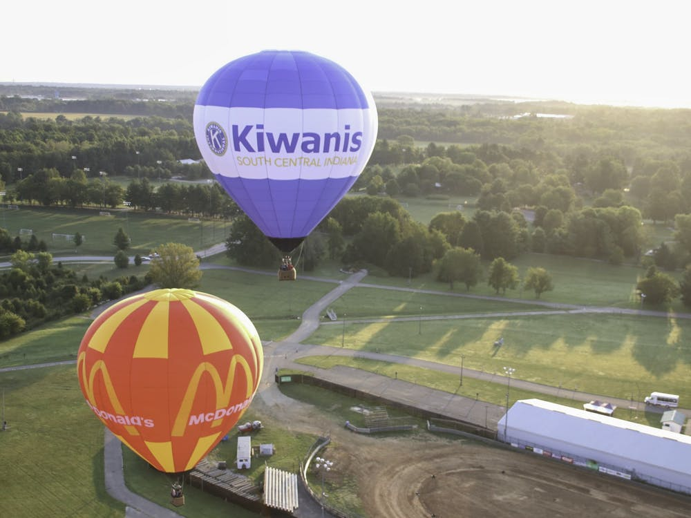 Hot air balloons fly in the air Sept. 10, 2021. The Kiwanis Indiana Balloon Festival began Sept. 10 and ends Sept. 12.