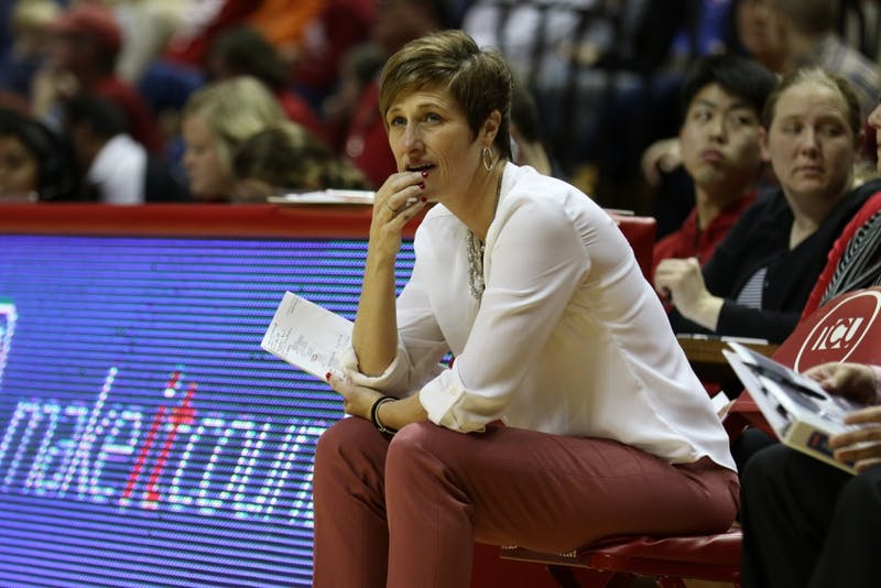 IU coach Teri Moren reacts to a play against Butler on Dec. 5 at Simon Skjodt Assembly Hall. The Hoosiers won the game with a score of 66-46.