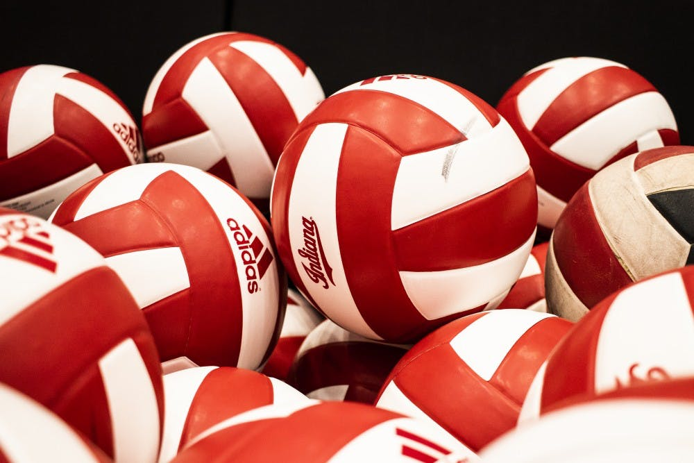 <p>Volleyballs are stacked in a basket June 19 in Wilkinson Hall. IU will play Illinois on Oct. 4 at home.</p>
