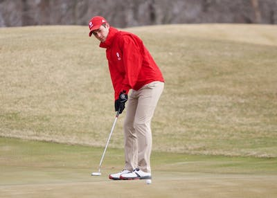 Then junior, now senior, Jake Brown putts the ball during practice at the IU Golf Course in Jan. 2018.