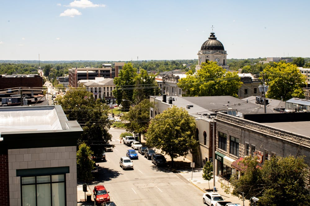 <p>A view of downtown Bloomington from the 7th and Walnut Street Parking Garage. Bloomington-based social services that have been impacted by the pandemic can apply for federal funds through the City of Bloomington Housing and Neighborhood Development Department, according to a press release from the City of Bloomington.</p>