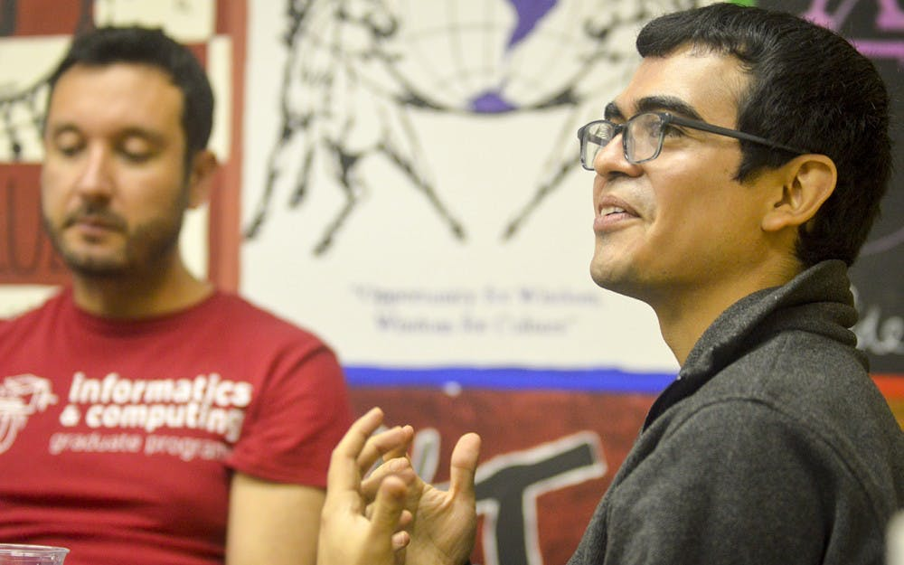 Informatics Professor Saul Blanco-Rodriguez speaks on homophobia back home in El Salvador and the struggles that LGBTQ immigrants face when coming to America during the Global Talk at La Casa Tuesday evening. Professor Blanco-Rodriguez commented that he can see the tides changing towards a more positive view of gay marriage.