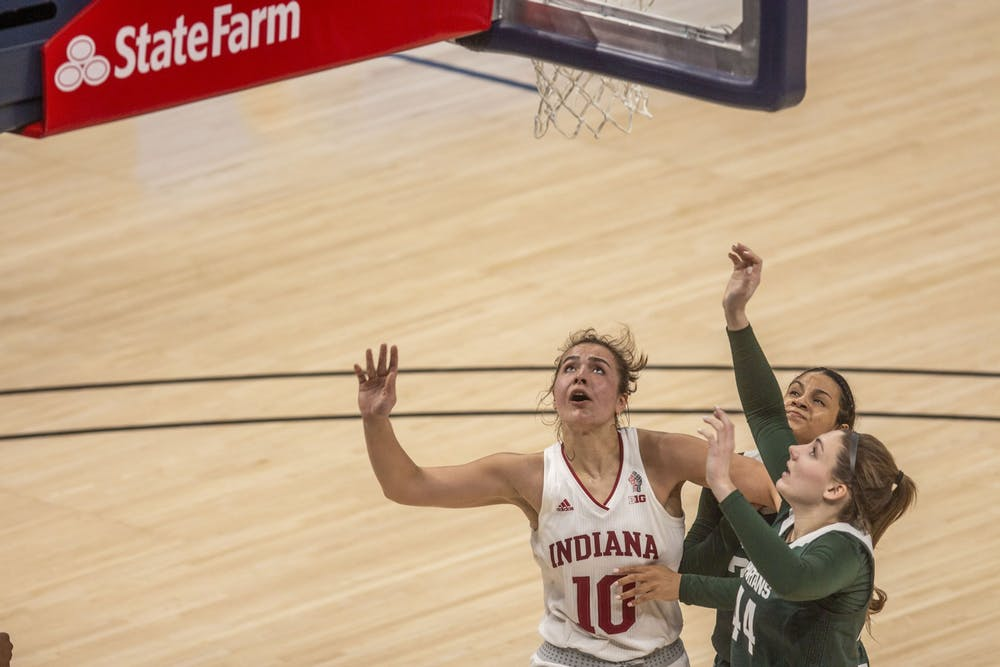 <p>Junior forward Aleksa Gulbe watches her shot March 11 in the quarterfinals of the Big Ten women&#x27;s basketball tournament at Bankers Life Fieldhouse in Indianapolis. Gulbe scored 9 points and added 15 rebounds in IU&#x27;s second round win over Belmont University on Wednesday.</p>