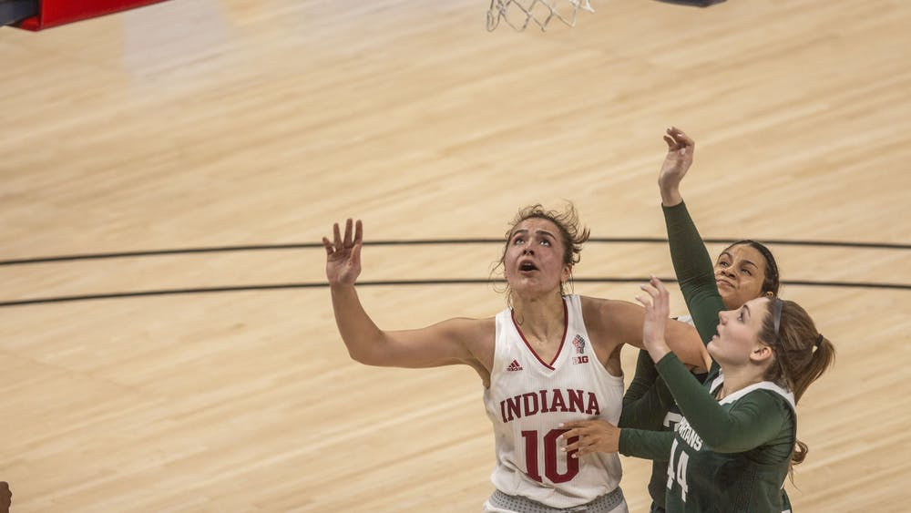 Junior forward Aleksa Gulbe watches her shot March 11 in the quarterfinals of the Big Ten women's basketball tournament at Bankers Life Fieldhouse in Indianapolis. Gulbe scored 9 points and added 15 rebounds in IU's second round win over Belmont University on Wednesday.
