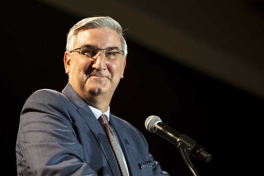 <p>Gov. Eric Holcomb gives his victory speech Nov. 3 at the JW Marriott Hotel in downtown Indianapolis. Holcomb is quarantining after multiple members for his security tested positive for COVID-19. </p>