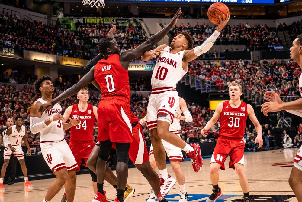 <p>Then-sophomore guard Rob Phinisee attempts a layup March 11 in Bankers Life Fieldhouse in Indianapolis. IU will play Tennessee Tech University Wednesday at 8 p.m. in Bloomington. </p>