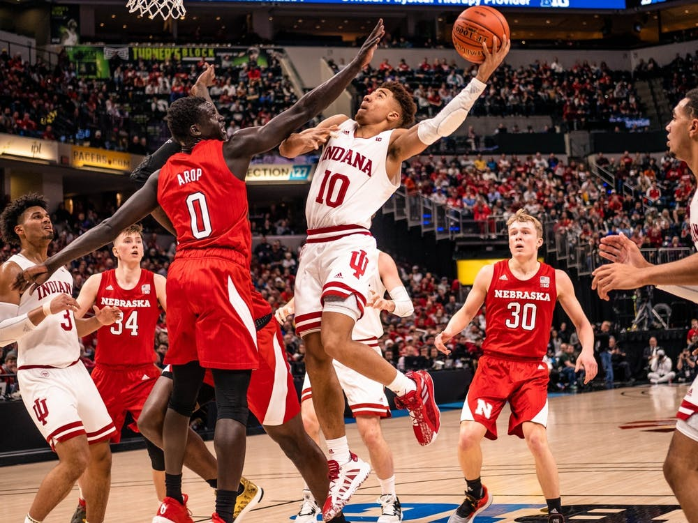 Then-sophomore guard Rob Phinisee attempts a layup March 11 in Bankers Life Fieldhouse in Indianapolis. IU will play Tennessee Tech University Wednesday at 8 p.m. in Bloomington.