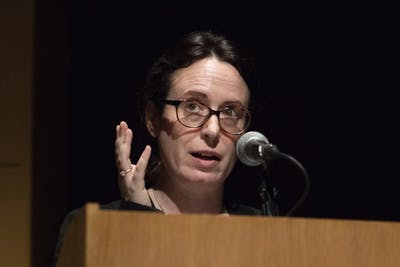 New York Times White House correspondent Maggie Haberman speaks March 18 at the Buskirk-Chumley Theater. Haberman shared her reporting experiences during her public lecture.