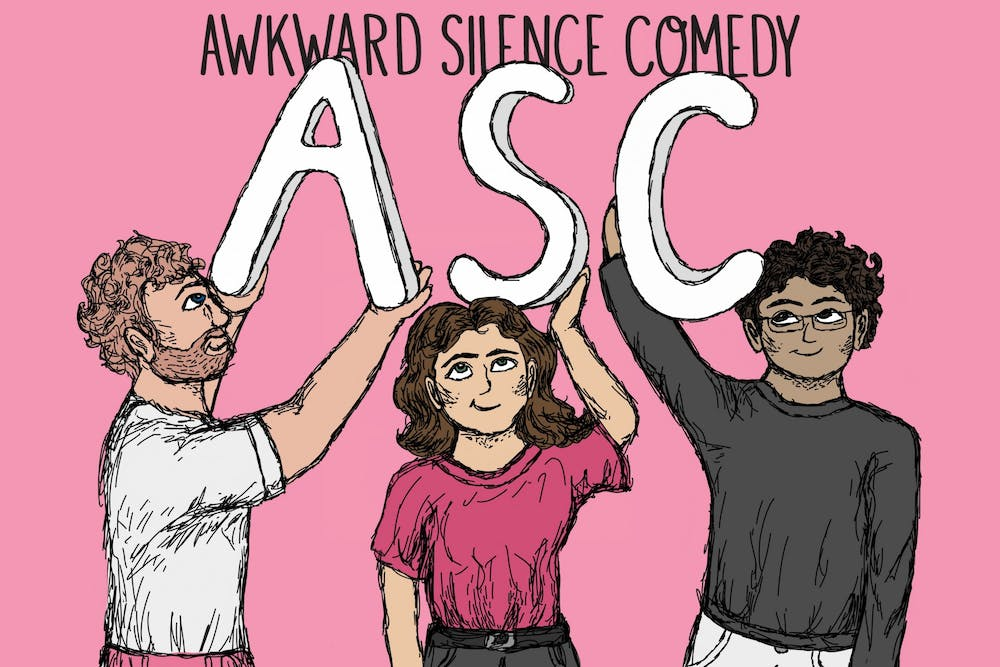 <p>A graphic for Awkward Silence Comedy features drawings of current members junior Mike Ruddell, seniorRachel Carnovale and sophomore Sid Nelluri.</p>