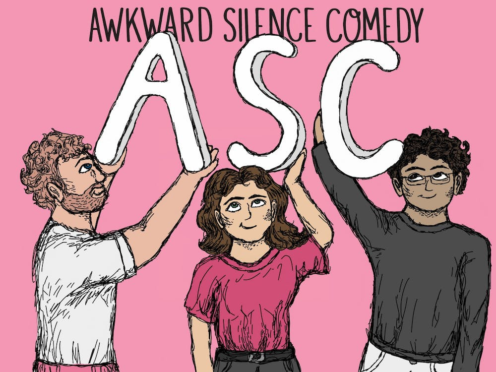 A graphic for Awkward Silence Comedy features drawings of current members junior Mike Ruddell, seniorRachel Carnovale and sophomore Sid Nelluri.